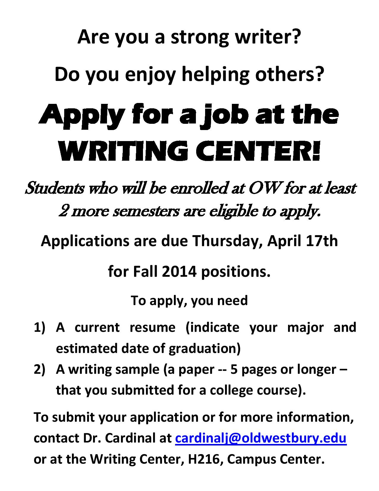 Writing Center Now Hiring For Fall 2014 Old Westbury