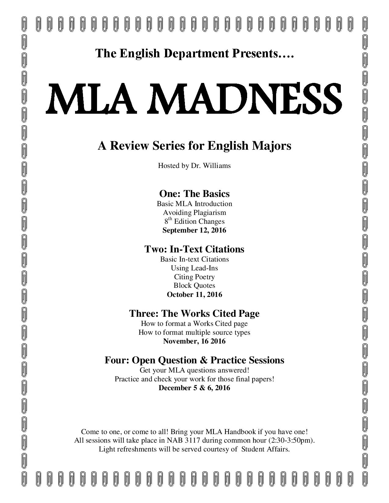 Mla Madness Session Iii: The Works Cited Page, 8th Edition (w 11 Quote How  To Cite A Website
