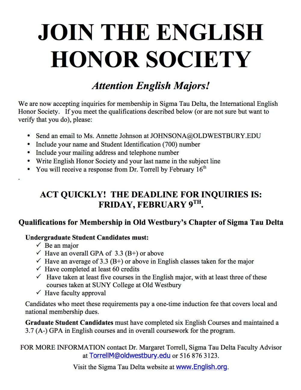 ENGLISH HONOR SOCIETY SPRING 2018